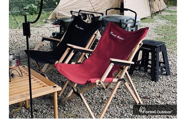 Forest Outdoor 櫸木林間椅 蝴蝶椅 把手設計, 紅, 黑.  售:1880元 1